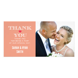 Peach Red Heart Wedding Photo Thank You Cards Personalized Photo Card