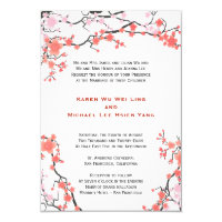 Peach Red & Pink Cherry Blossoms Oriental Wedding Invitation