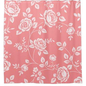 Professional Business Peach_Retro_Floral(c) Bathroom_ Shower Curtain