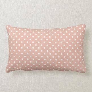 Peach Retro Polka Dots Throw Pillows