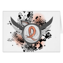 Peach Ribbon And Wings Endometrial Cancer Card