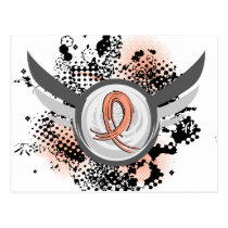 Peach Ribbon And Wings Uterine Cancer Postcard