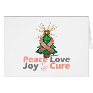 Peach Ribbon Christmas Peace Love, Joy & Cure Greeting Card