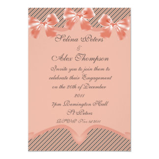 Peach Ribbon Engagement Invitation