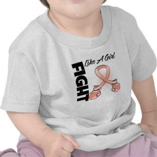 Peach Ribbon Fight Like A Girl Tee Shirts