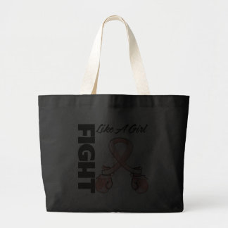 Peach Ribbon Fight Like A Girl Tote Bags