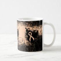 Peach Ribbon Grunge Heart Coffee Mug