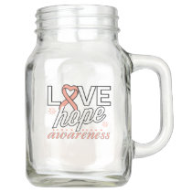 Peach Ribbon Love Hope Awareness Mason Jar