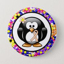 Peach Ribbon Penguin Button