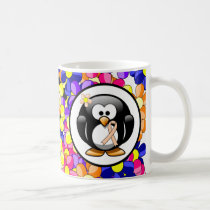 Peach Ribbon Penguin Coffee Mug