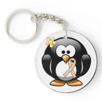 Peach Ribbon Penguin Keychain