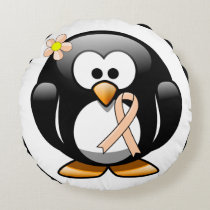 Peach Ribbon Penguin Round Pillow