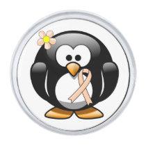 Peach Ribbon Penguin Silver Finish Lapel Pin
