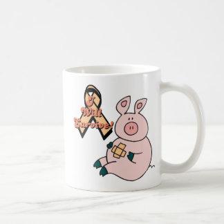 peach ribbon pig classic white coffee mug
