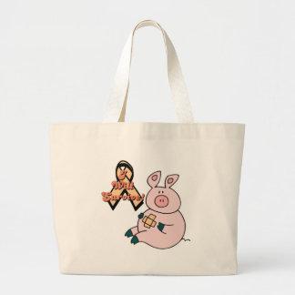 peach ribbon pig large tote bag