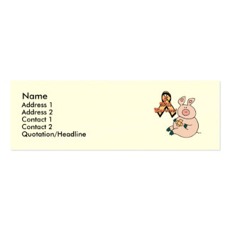 peach ribbon pig, Name, Address 1, Address 2, C... Double-Sided Mini Business Cards (Pack Of 20)