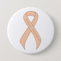 Peach Ribbon Support Awareness Button
