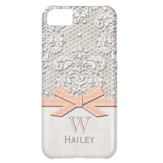 Peach Ribbon Vintage Lace Pearl iPhone 5C Covers