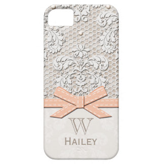 Peach Ribbon Vintage Lace Pearl iPhone SE/5/5s Case