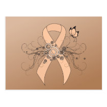 Peach Ribbon with Butterfly Postcard
