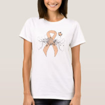 Peach Ribbon with Butterfly T-Shirt