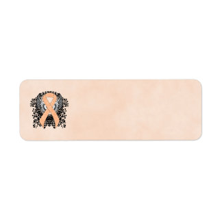 Peach Ribbon with Wings Label