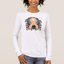 Peach Ribbon with Wings Long Sleeve T-Shirt