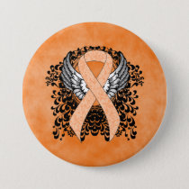 Peach Ribbon with Wings Pinback Button