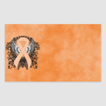 Peach Ribbon with Wings Rectangular Sticker
