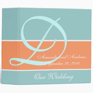 Peach, Robin's Egg Blue Wedding Planner Keepsake 3 Ring Binder
