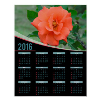 Peach rose 2016 poster calendar