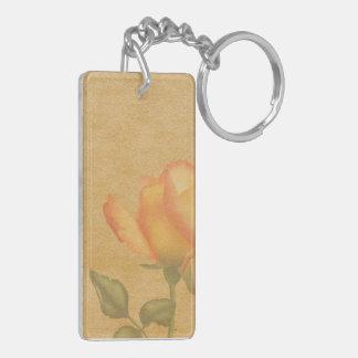 Peach Rose Acrylic Keychain
