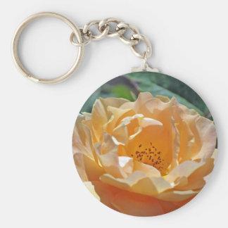 Peach Rose Basic Round Button Keychain