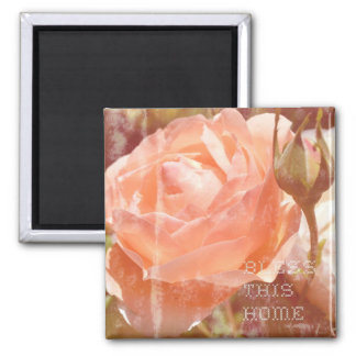 Peach Rose Bless This Home Magnet