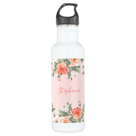 Peach Rose Blush Pink Floral Personalized Stainless Steel Water Bottle