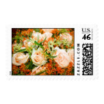 Peach Rose Bouquet Postage Stamps