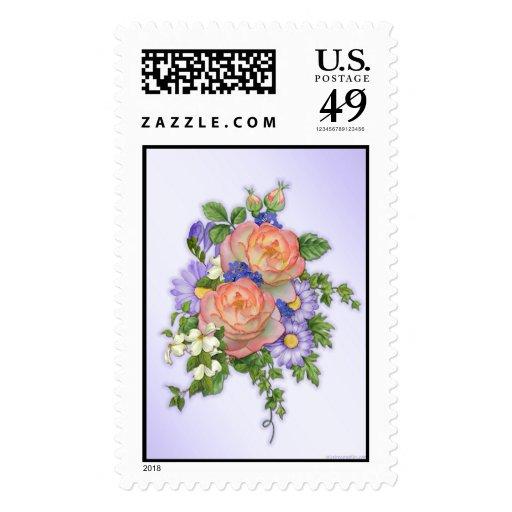 Peach Rose Bouquet Stamp