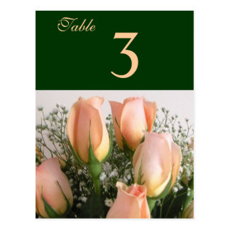 Peach Rose Bouquet Table Number Card Postcard