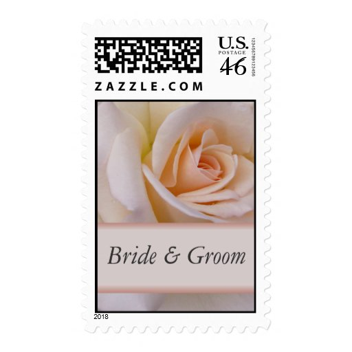 Peach rose - customize with your names postage stamp