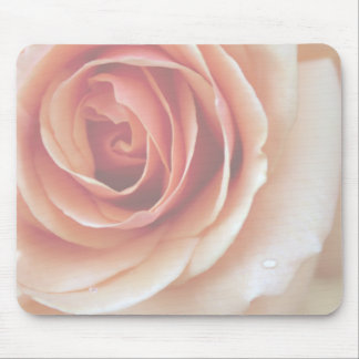 Peach Rose Dew Drops Mouse Pad