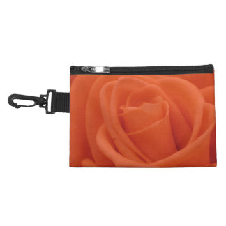 Peach Rose Floral Image - Clip On Accessory Bag