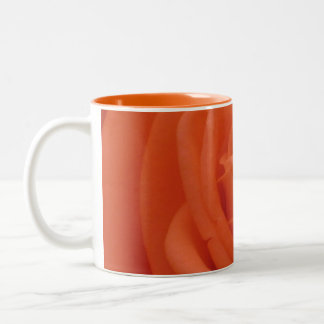 Peach Rose Floral Image Orange Two-Tone Mug