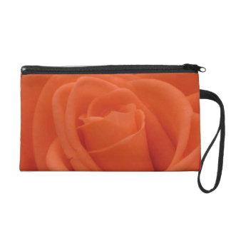 Peach Rose Floral Image - Wristlet