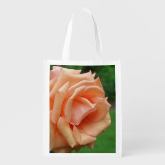 Peach Rose Flower Grocery Bag