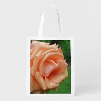 Peach Rose Flower Reusable Grocery Bag