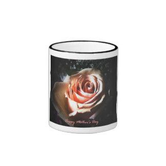 Peach Rose for Mom Ringer Mug