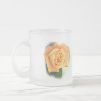 Peach Rose Frosted Mug- customize 10 Oz Frosted Glass Coffee Mug