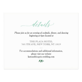 'Peach Rose Garden' Wedding Details(Reception) Postcard