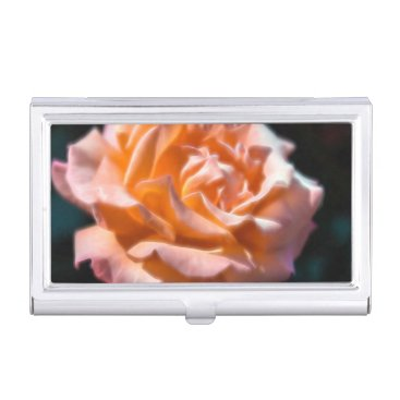 Professional Business Peach Rose Glow Flower Business Card Holder