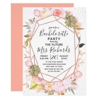 Peach & Rose Gold Bachelorette Party Invitation